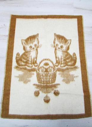 Детское шерстяное одеяло с котиками3 фото