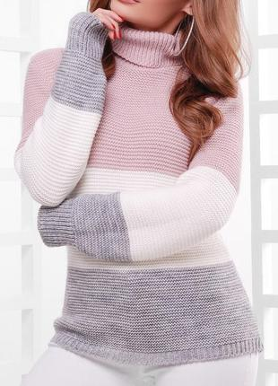 Вязаный женский трехцветный свитер под горло (44-52/много цветов)