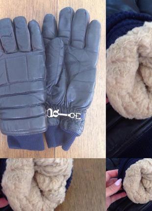 Перчатки кожаные кожа с мехом очень теплые р. 9