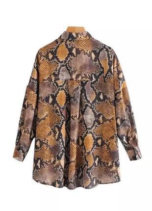 Блуза рубашка змеиный принт оверсайз2 фото