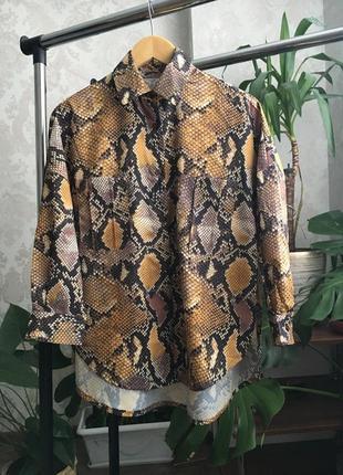 Блуза рубашка змеиный принт оверсайз3 фото