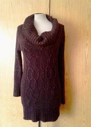 Вязаное платье - свитер шоколадного цвета с люрексом, s-l.