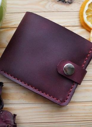 Женский бордовый кожаный кошелек из винтажной кожи, гаманець
