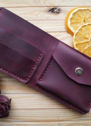 Женский бордовый кожаный кошелек из винтажной кожи, гаманець2
