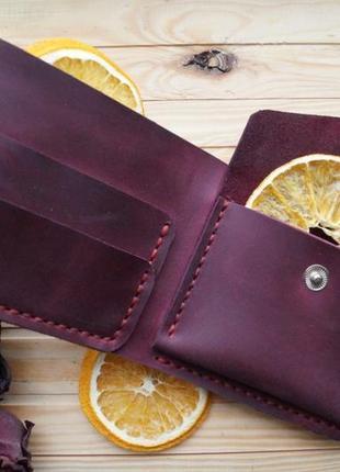 Женский бордовый кожаный кошелек из винтажной кожи, гаманець3