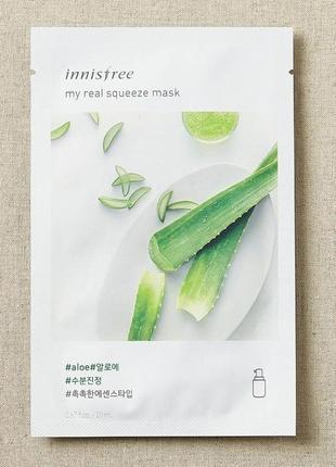 Тканевая маска для лица с экстрактом алоэ вера innisfree it´s real squ aloe