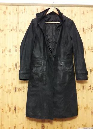 Плащ пальто на синтепоне эко кожа с меховым капюшоном р.38-40