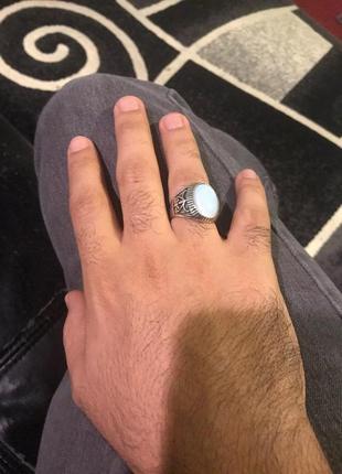 Шикарный мужской перстень с лунным камнем 21 размер2