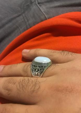 Шикарный мужской перстень с лунным камнем 21 размер3