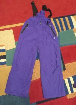 Теплые зимние лыжные штаны комбинезон. 122-128
