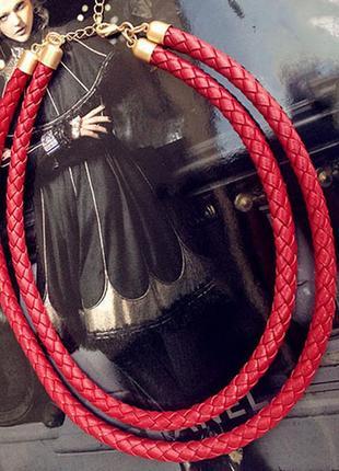Крутое кожаное колье красное колье плетенье2 фото