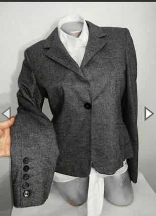 Жакет женский шерстяной серого цвета. меланж. бренд h&m (швеция)