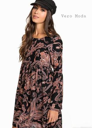 Платье в стиле бохо с расклешенными рукавами