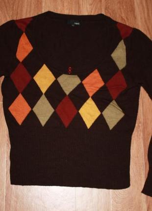 Джемпер next легкий вязанный свитер клетка длинный рукав m на рубашку