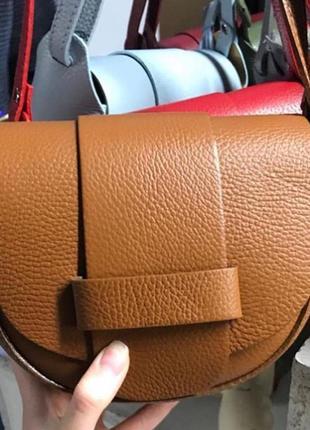 Сумочка кожаная сумка италия кросс-боди новая рыжий горчичный шкіряна