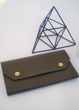 Очень удобный оливковый кошелек handmade