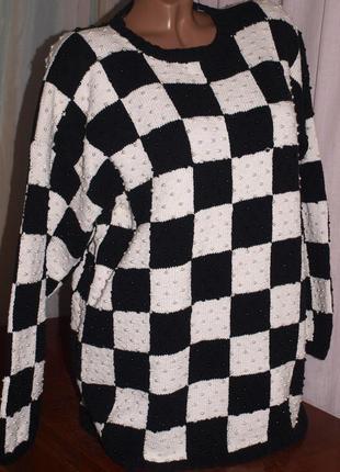 Классный свитер (хл замеры) в клетку, абсолютно весь обшит бусинами, отлично смотрится