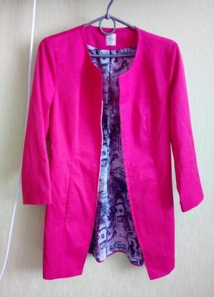 Длинный пиджак жакет малиновый