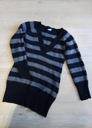 Свитер шерстяной с ангорой в полоску полосатый свитер с натуральной шерстью и ангорой