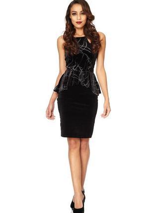 Большой выбор платьев - шикарное бархатное платье миди длины с баской
