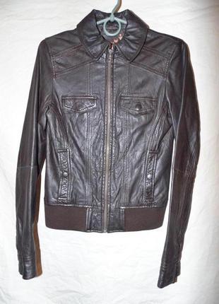 Куртка кожаная next размер s - xs или 8 натуральная кожа