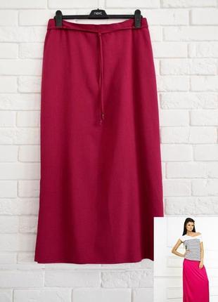 Яркая макси юбка из жатой вискозы с разрезом цвет фуксия evans uk24 новая