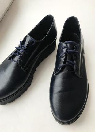 Кожаные туфли дерби на платформе