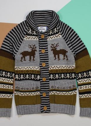 Просто сказочный свитер-кардиган с оленями от dnm73