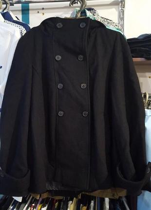 Стильное деми пальто трапеция от zara, с капюшоном - ххл - на 12, 14 - можно и беременным