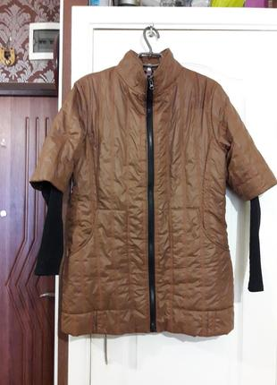 Стильная модная куртка с трикотажным рукавом 48-50-52 рр.