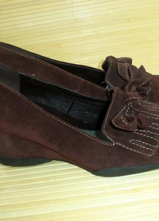 Туфли натуральная замша  танкетка2