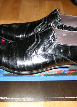 Шикарные кожаные туфли из кожи угря натуральная кожа угря новые carlo pazolini