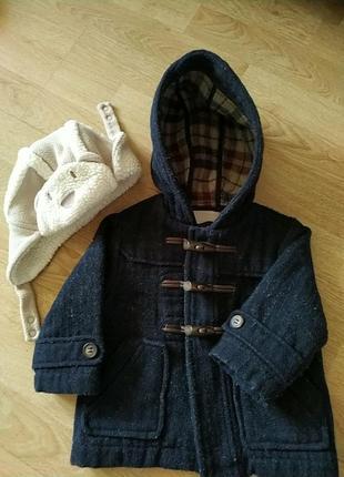 Шерстяное пальто zara 12-18 мес   шапка в подарок