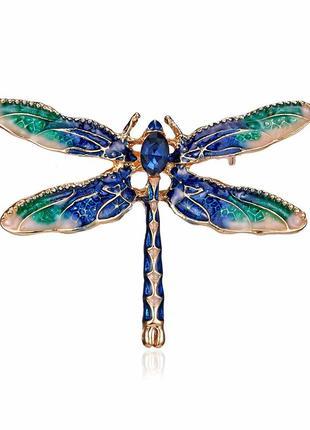 Брошь женская бижутерия насекомые стрекоза br110751 зелёная