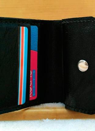 Бумажник, кошелек, из натуральной кожи, черный, унисекс