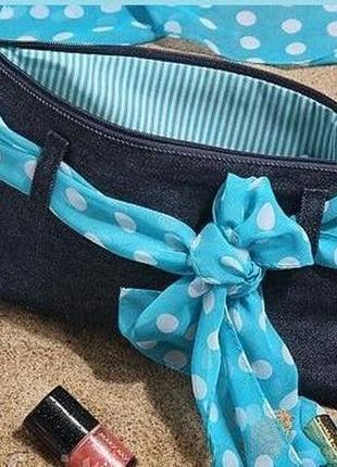 Клатч косметичка джинсовая модные выходные mary kay, мери кей