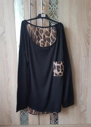 Стильный удлиненный джемпер с леопардовым принтом оверсайз