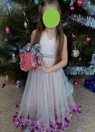 Tegin дизайнерское нарядное выпускное карнавальное длинное платье из шелка и фатина 4-6л