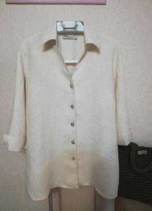 Стильная льняная удлиненная рубашка блуза на выпуск artigiano, р.16 (14/18)