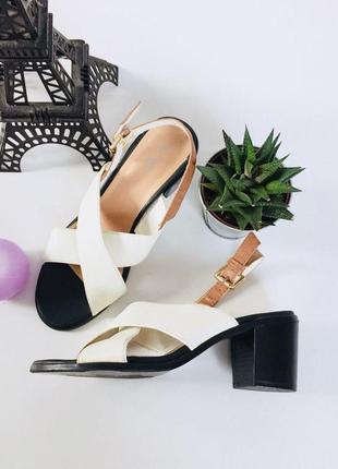 Стильные босоножки на толстом каблуке с ремешком на щиколотке