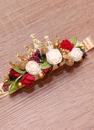 Повязка для малышки с цветами и короной
