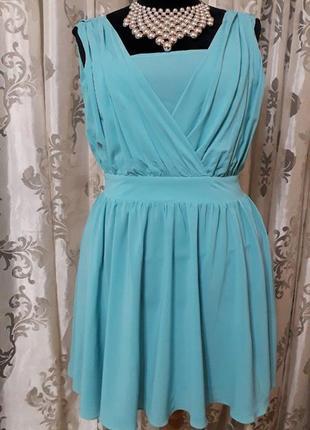 Праздничное короткое летнее платье бирюзового цвета открытая спина 40/l/48