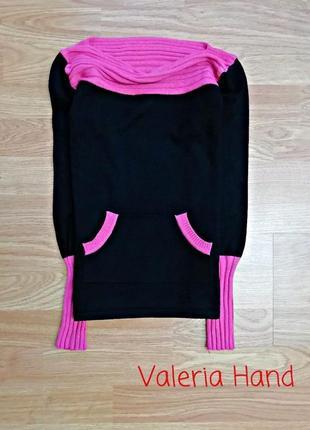 Плотный упругий джемпер - свитер с яркими вставками - девочка - возраст 9-11 лет