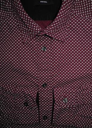 Мужская рубашка в узорчик бардовая diesel l оригинал