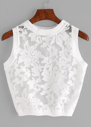 Укороченная блуза-топ без рукавов из органзы с shein америка