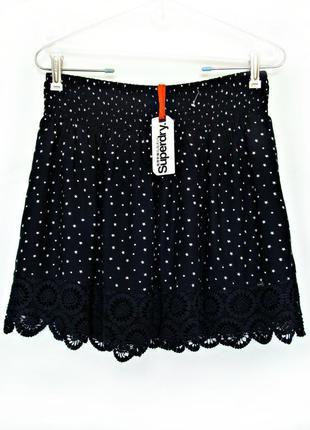 Темно-синяя юбка с принтом и кружевом р.12