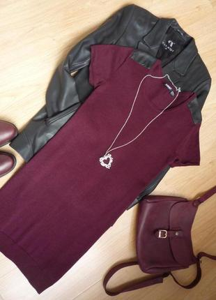 Платье туника цвет бордо / марсала / короткий рукав / esmara