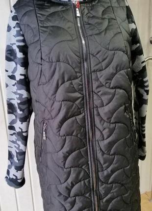 Куртка,пальто ,класное качество,новинка 2019.рукава камуфляж.по 56 размер