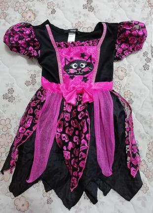 Карнавальный новогодний костюм платье кошечки на 1-2года george