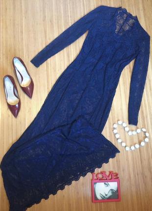 Шикарное гипюровое платье в пол, размер l